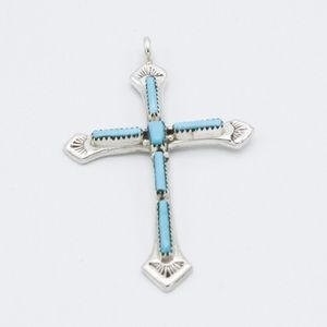 Jewelry - Zuni Cross Turquoise Pendant